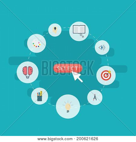 Flat Icons Idea, Concept, Arrow And Other Vector Elements