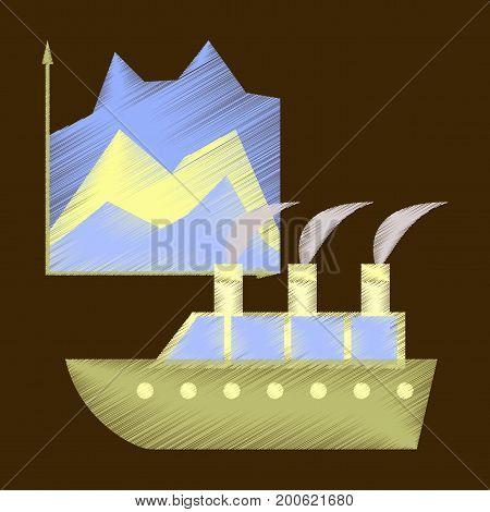 flat shading style icon Cruise ship Infographic