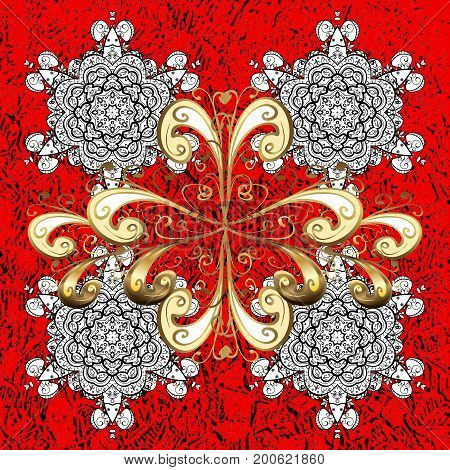 White pattern. Vector white floral ornament brocade textile pattern. Floral pattern. Red background with elements.