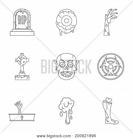 Zombie grave icon set. Outline set of 9 zombie grave vector icons for web isolated on white background