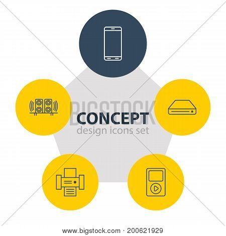 Editable Pack Of Smartphone, Loudspeaker, Media Controller And Other Elements.  Vector Illustration Of 5 Accessory Icons.