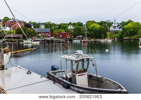 Rockport, Usa - June 9, 2017: Harbor Master Sign On Boat In Small Maine Village Marina