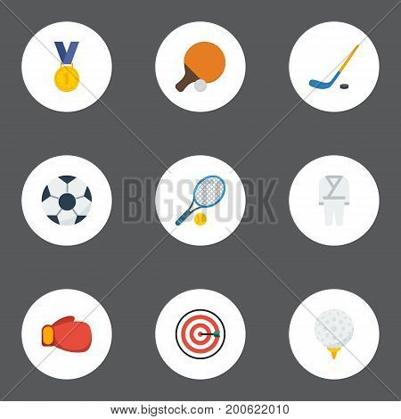 Flat Icons Reward, Golf, Ball And Other Vector Elements