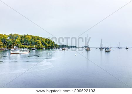 Rockport, Usa - June 9, 2017: Empty Marina Harbor In Small Village In Maine During Rain With Boats I