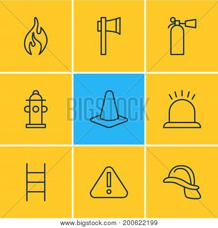 Editable Pack Of Ax, Taper, Exclamation And Other Elements.  Vector Illustration Of 9 Emergency Icons.