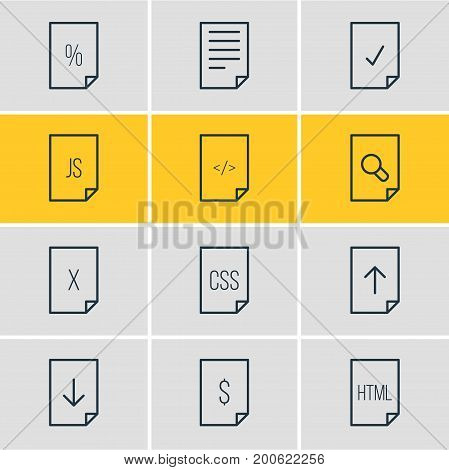Editable Pack Of Done, Script, Download And Other Elements.  Vector Illustration Of 12 Document Icons.