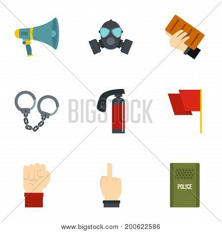 Revolt demonstrate icon set. Flat set of 9 revolt demonstrate vector icons for web isolated on white background