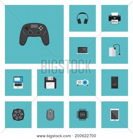 Flat Icons Printer, Cooler, Palmtop And Other Vector Elements