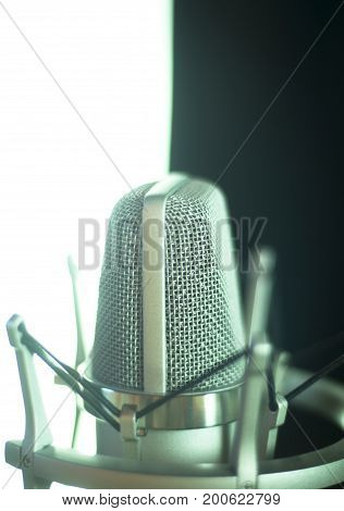 Studio vocal large diaphragm condenser voiceover recording microphone with built in antipop screen.