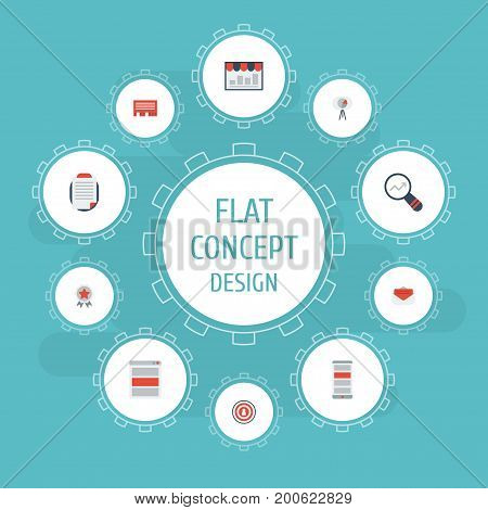 Flat Icons Social Media Ads, Monitoring, Application And Other Vector Elements