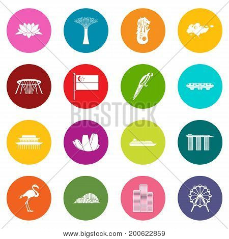 Singapore icons many colors set isolated on white for digital marketing