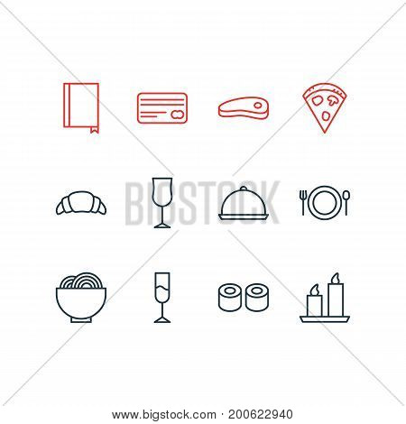Editable Pack Of Pepperoni, Bacon, Japanese Roll And Other Elements.  Vector Illustration Of 12 Cafe Icons.