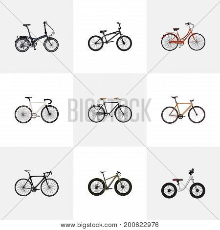 Realistic Bmx, Timbered, Folding Sport-Cycle And Other Vector Elements