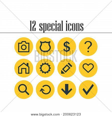 Editable Pack Of Cogwheel, Shield, Downward And Other Elements.  Vector Illustration Of 12 Interface Icons.