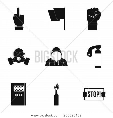 Rebel demonstration icon set. Simple set of 9 rebel demonstration vector icons for web isolated on white background