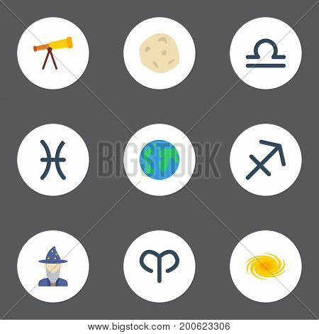 Flat Icons Earth Planet, Scales, Space And Other Vector Elements