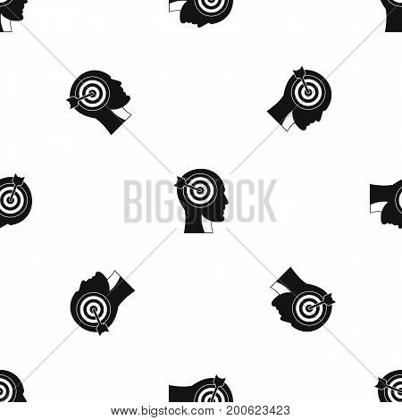 Target in human head pattern repeat seamless in black color for any design. Vector geometric illustration