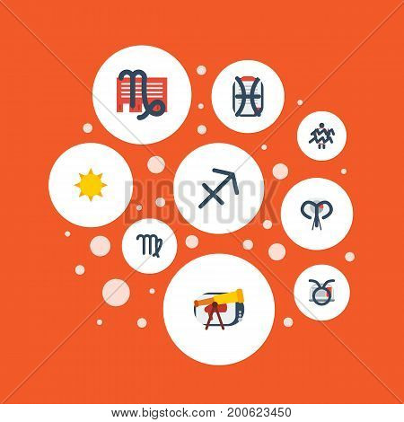 Flat Icons Archer, Solar, Bull And Other Vector Elements
