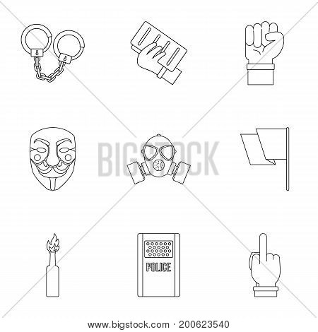 Human freedom icon set. Outline set of 9 human freedom vector icons for web isolated on white background