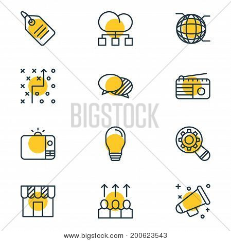 Editable Pack Of Discussing, Television, Network And Other Elements.  Vector Illustration Of 12 Marketing Icons.