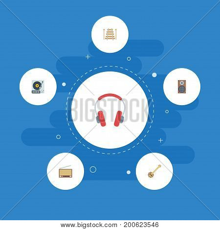 Flat Icons Audio Box, Musical Instrument, Radio And Other Vector Elements