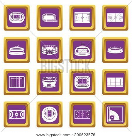 Sport stadium icons set in purple color isolated vector illustration for web and any design