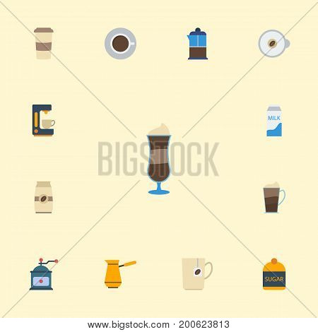 Flat Icons Seed Pack, Mocha, Plastic Cup And Other Vector Elements