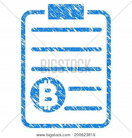 Grunge Bitcoin Price List rubber seal stamp watermark. Icon symbol with grunge design and dust texture. Unclean vector blue sticker.