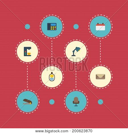 Flat Icons Date, Letter, Puncher And Other Vector Elements