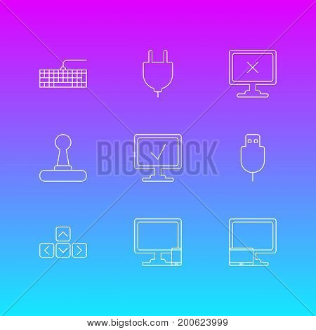 Editable Pack Of Keypad, Qwerty Board, Online Computer And Other Elements.  Vector Illustration Of 9 Notebook Icons.