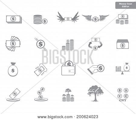 Simple Set Vector Icon. Money Related Color Vector Line Icons. Contains Such Icons As Money, Hand, C