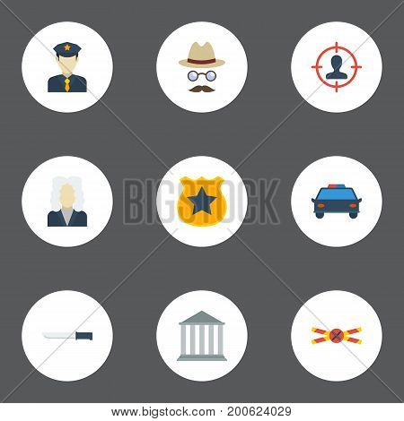 Flat Icons Suspicious, Police Car, Bayonet And Other Vector Elements