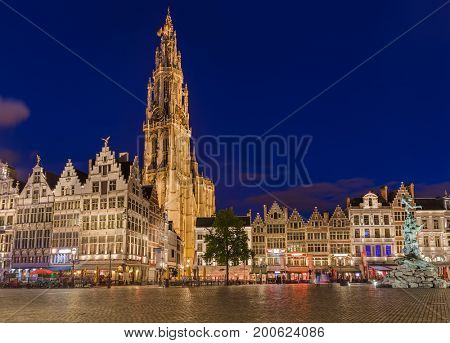 Grote Markt in Antwerp Belgium - architecture background