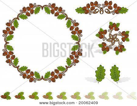 Autumn Design Elements Acorns