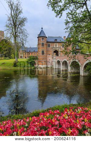 Groot Bijgaarden Castle in Brussels Belgium - architecture background