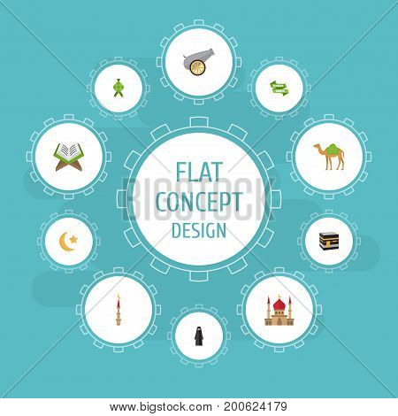 Flat Icons Mecca, Artillery, Minaret And Other Vector Elements