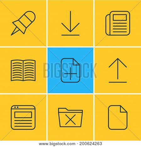 Editable Pack Of Note, Delete, Textbook And Other Elements.  Vector Illustration Of 9 Bureau Icons.