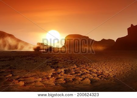 Sunset in desert of Iran. Kerman. Shahdad. Dasht-e Lut Desert.