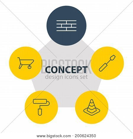 Editable Pack Of Turn Screw, Roller, Barrier And Other Elements.  Vector Illustration Of 5 Construction Icons.