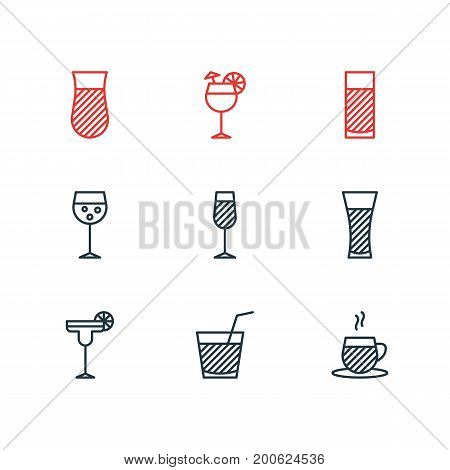 Editable Pack Of Drink, Beverage, Glass And Other Elements.  Vector Illustration Of 9 Beverage Icons.