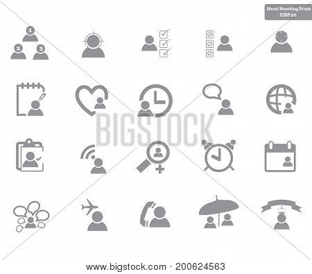 Simple Set Vector Icon. Head Hunting Related Vector Line Icons. Contains such Icons as Job, Interview, Career Part, Resume, Human Resource, Manager,leader. Editable Stroke. small Pixel.