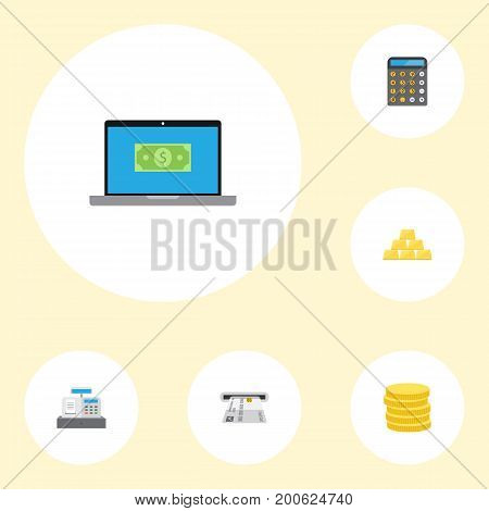 Flat Icons Till, Teller Machine, Small Change And Other Vector Elements