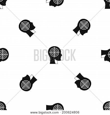 Crosshair in human head pattern repeat seamless in black color for any design. Vector geometric illustration