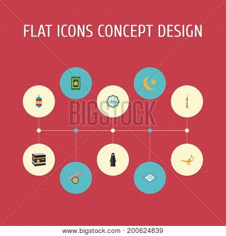 Flat Icons Muslim Woman, Genie, Islamic Lamp And Other Vector Elements