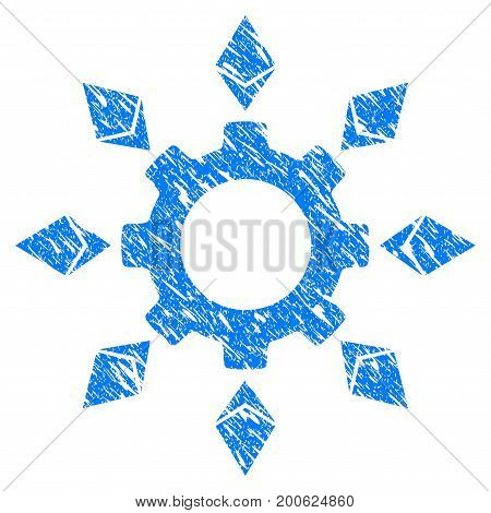 Grunge Ethereum Configuration Gear rubber seal stamp watermark. Icon symbol with grunge design and unclean texture. Unclean vector blue sticker.
