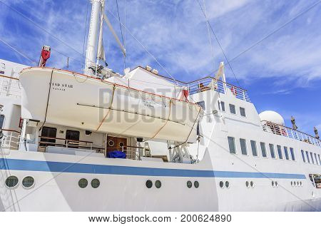 ZADAR, CROATIA - JULY 15, 2017: The lifeboat is suspended on a cruise ship