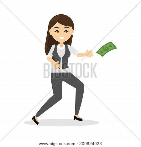 Business woman catches flying money banknote on white background. Smiling woman in suit.