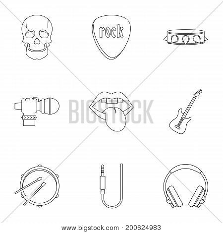 Rock music equipment icon set. Outline set of 9 rock music equipment vector icons for web isolated on white background