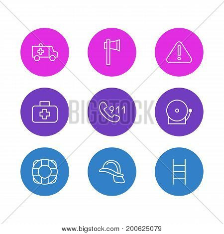 Editable Pack Of Ax, Exclamation, Stairs And Other Elements.  Vector Illustration Of 9 Necessity Icons.