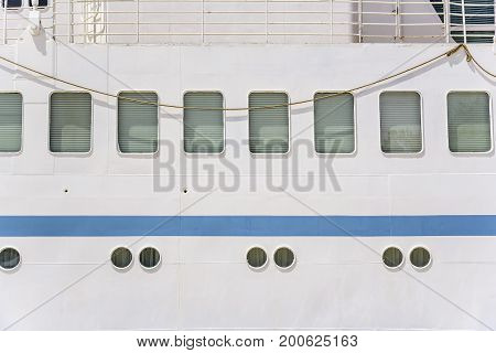 Portholes of the ship of the white big ship.